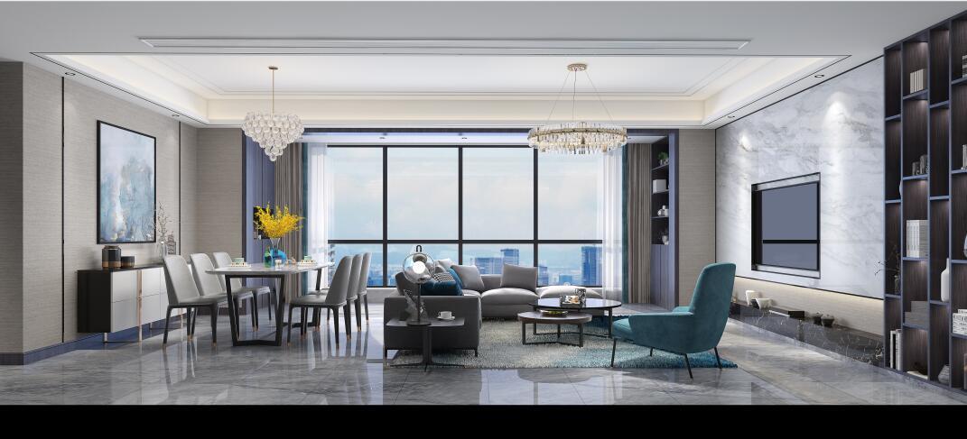 龙湖紫宸135平现代轻奢风格装修案例