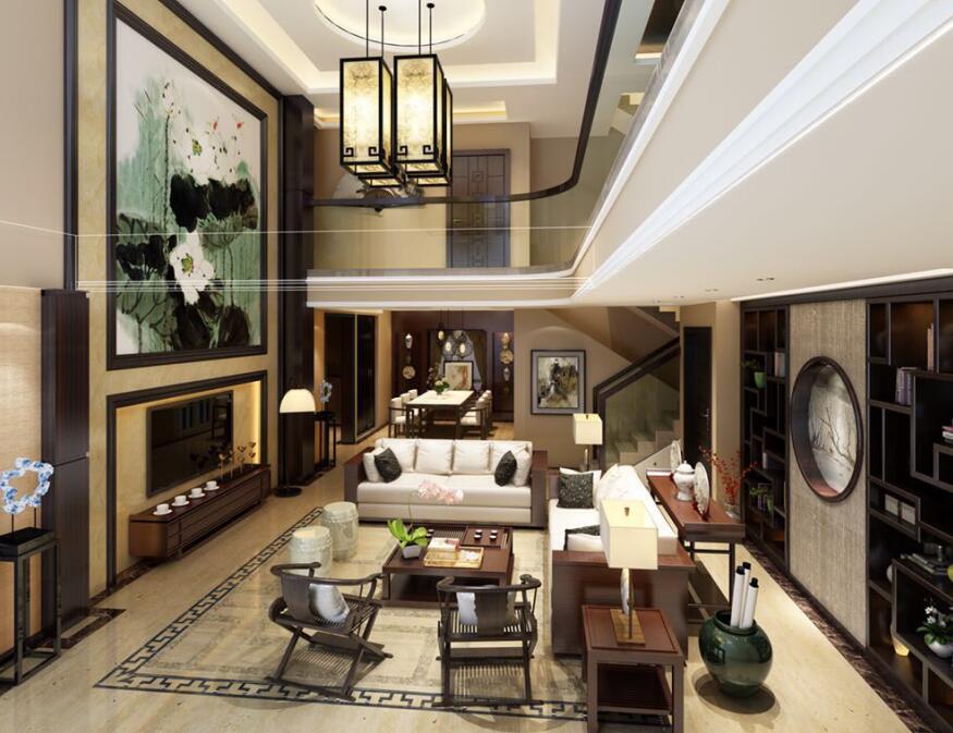 润扬—双河鹭岛300平别墅中式风格装修案例