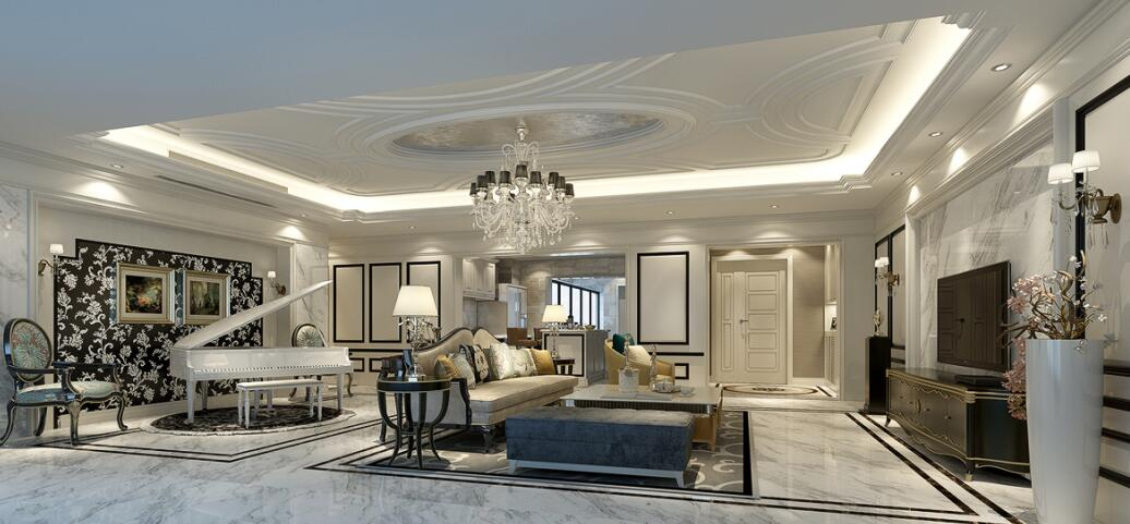 龙湖世纪180平大平层新古典风格装修案例