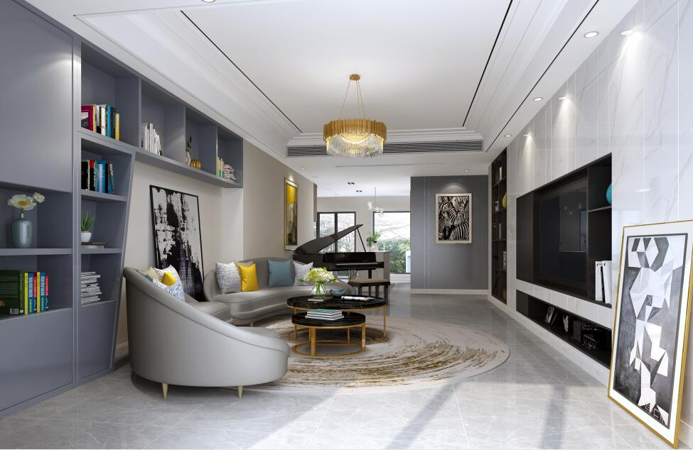 蔚蓝卡地亚花园城280莫兰迪色系现代风格装修案例