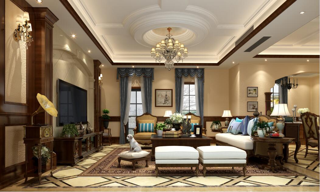 嘉裕第六洲斑斓屿450平别墅美式风格装修案例